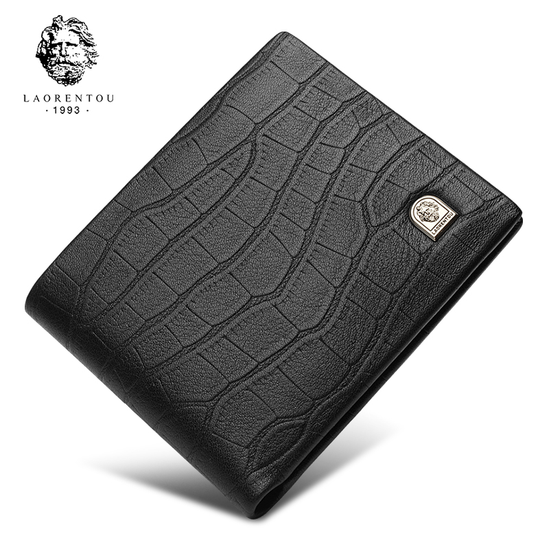 LAORENTOU 2018 New Design Wallet Men 100% Genuine Leather Cow Leather Casual Man Wallets Short Purse For Business Man