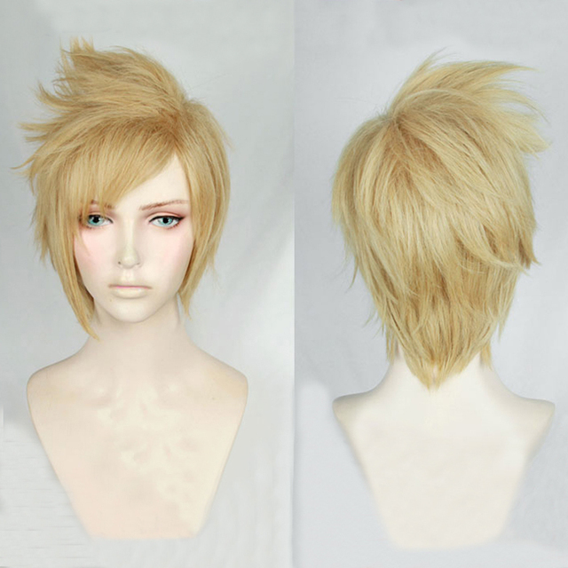 FF15 Final Fantasy XV Prompto Argentum Short Linen Blonde Cosplay Costume Wig Heat Resistance Fibre Hair + Free Wig Cap