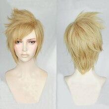 شعر مستعار FF15 فاينل فانتاسي XV قصير كتان أشقر مقاوم للحرارة باروكة شعر + غطاء شعر مستعار مجاني