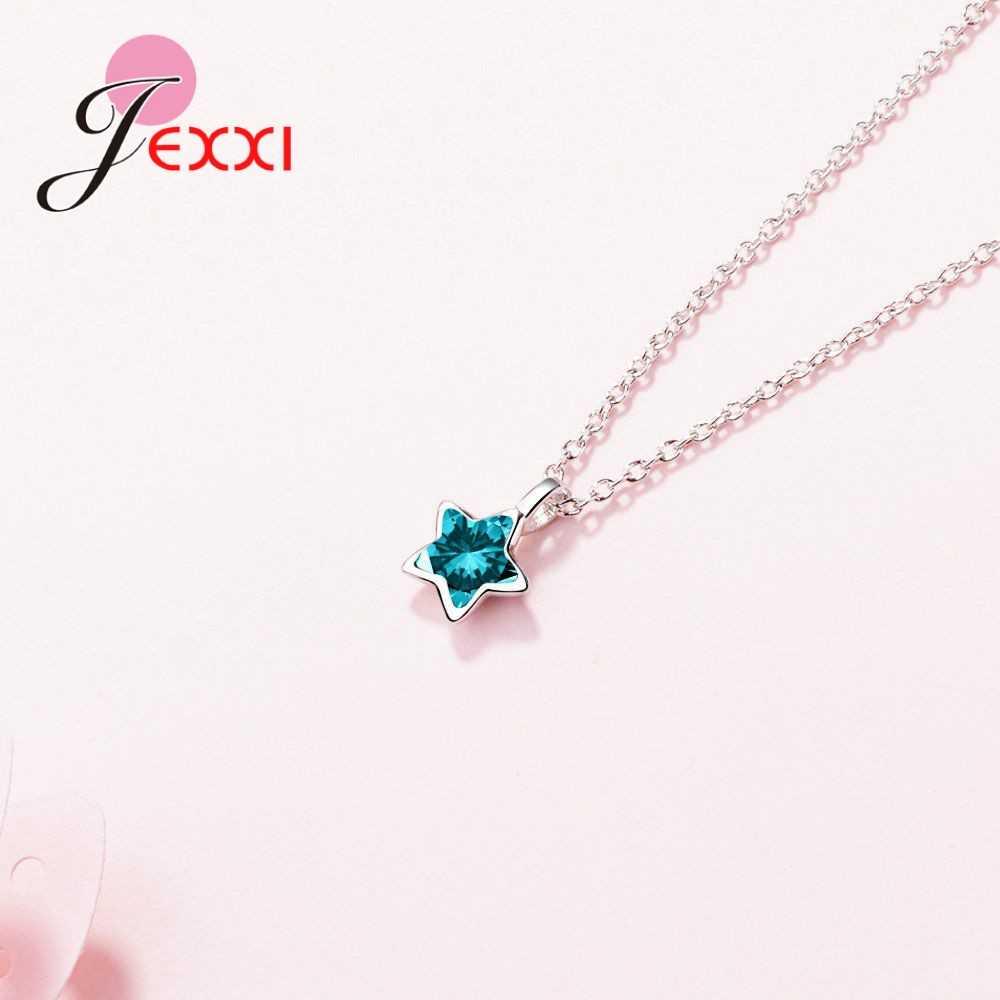 Réel 925 argent Sterling clair cubique zircon collier onirique bleu Design cadeaux pour les femmes mariage populaire modèle cadeaux