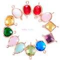 24 unids Mezclado Oval Facetado Enmarcado Encantos CZ Circón Piedra Natal Collar Colgantes Bisel de Cristal de la Pulsera Para La Joyería de DIY