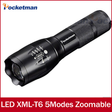 flashlight cree xm-l t6 Zoomable 5 Modes waterproof black 3800lm lampe torche led torchlanterna for 18650