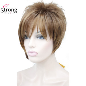 Image 2 - StrongBeauty Light Auburn with Highlights Inclined Bangs Short Straight Synthetic Hair Wig For Girl