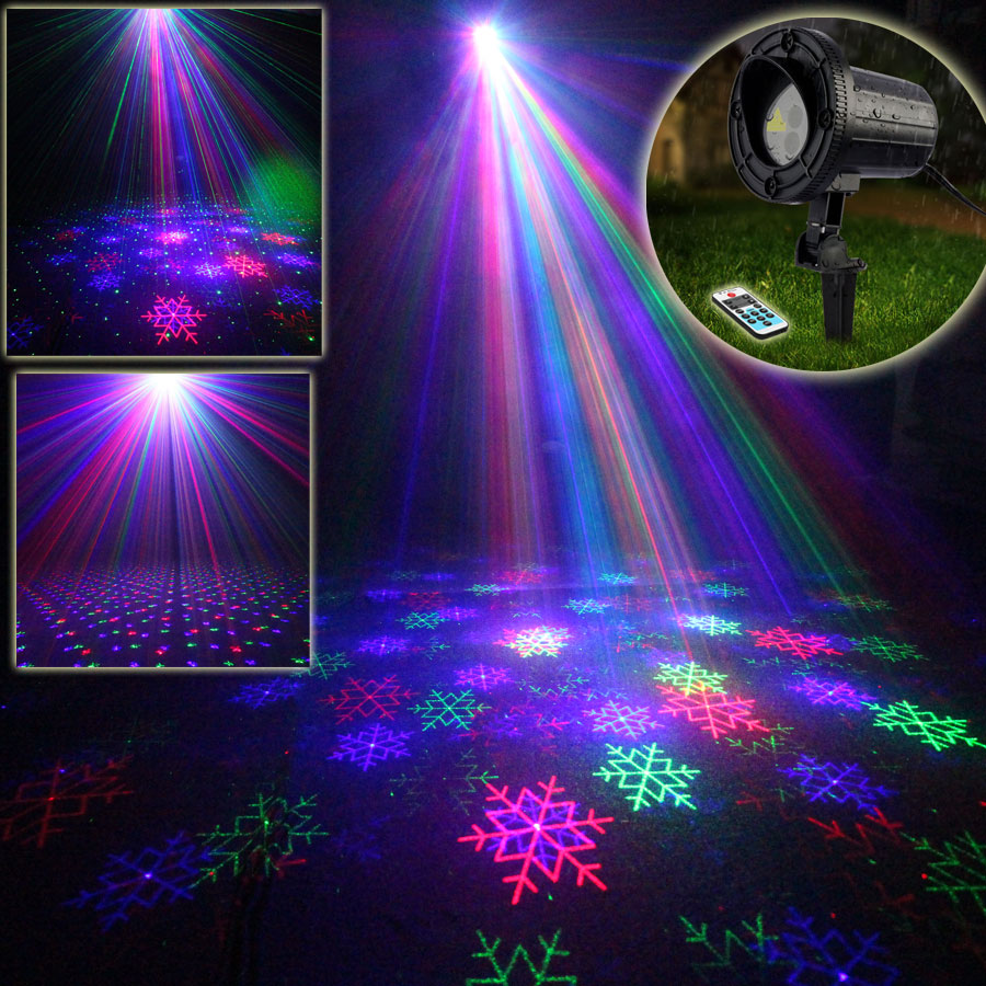 Outdoor Remote R&G Laser Snow Full Stars Sky Landscape Dance Disco Bar Xmas Garden Lawn Party Tree DJ Effect Light Show X2RGB