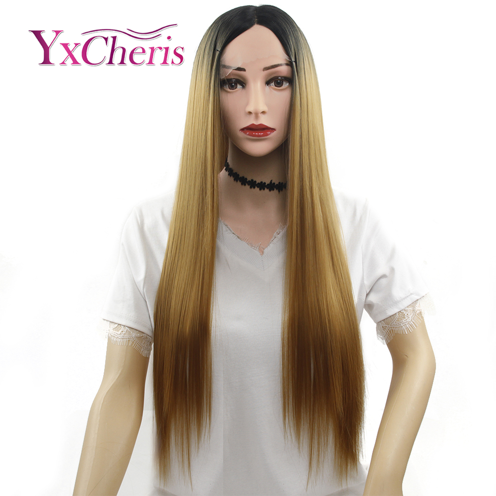 Ombre Blonde lace front wigs For Women Synthetic pink frontal lace wigs Female Long Straight Hair wig for sale