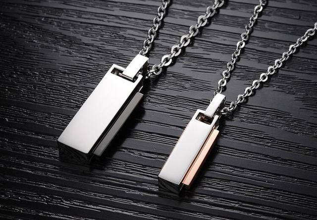 2017 Korean Stainless Steel Love U Lovers' Pendant Necklace Fashion Set Drill Women Jewelry Accessories Necklace