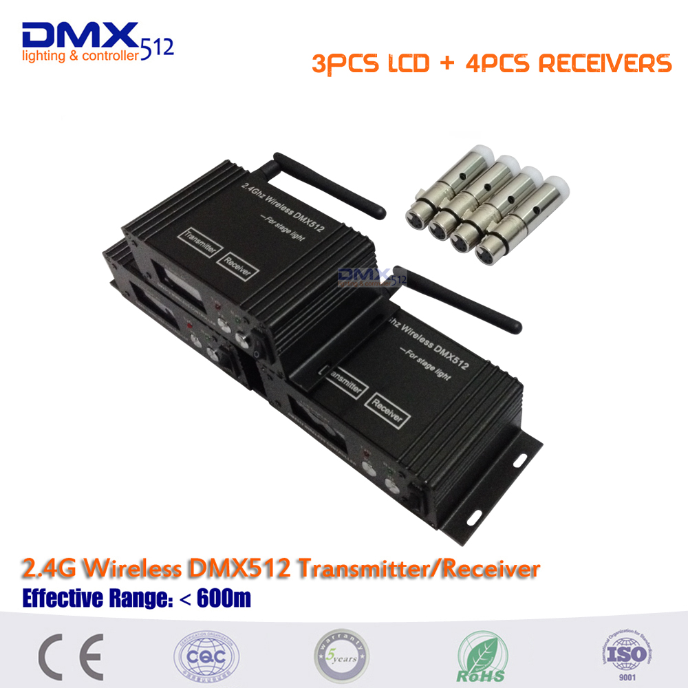 DHL Free shipping 3PCS LCD Transmitter & Receiver 2 in 1 controller and 4pcs mini 2.4G Wireless dmx512 receivers Controller rs 4 in 1 4 in 1 toner cartridge chip resetter for samsung free shipping by dhl
