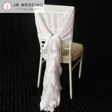 100 PCS Romatic White Chiffon Chair Sash Ruffled Chair Cover U0026 Hood Cruly Willow  Chair Sash