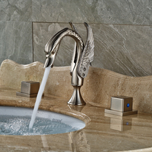 Wholesale and Retail Swan Style Bathroom Sink Faucet Deck Mount Two Handles Brushed Nickel Mixer Taps