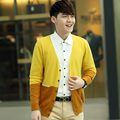 Spring male color block cashmere cardigan color block decoration belt wool cardigan casual sweater outerwear