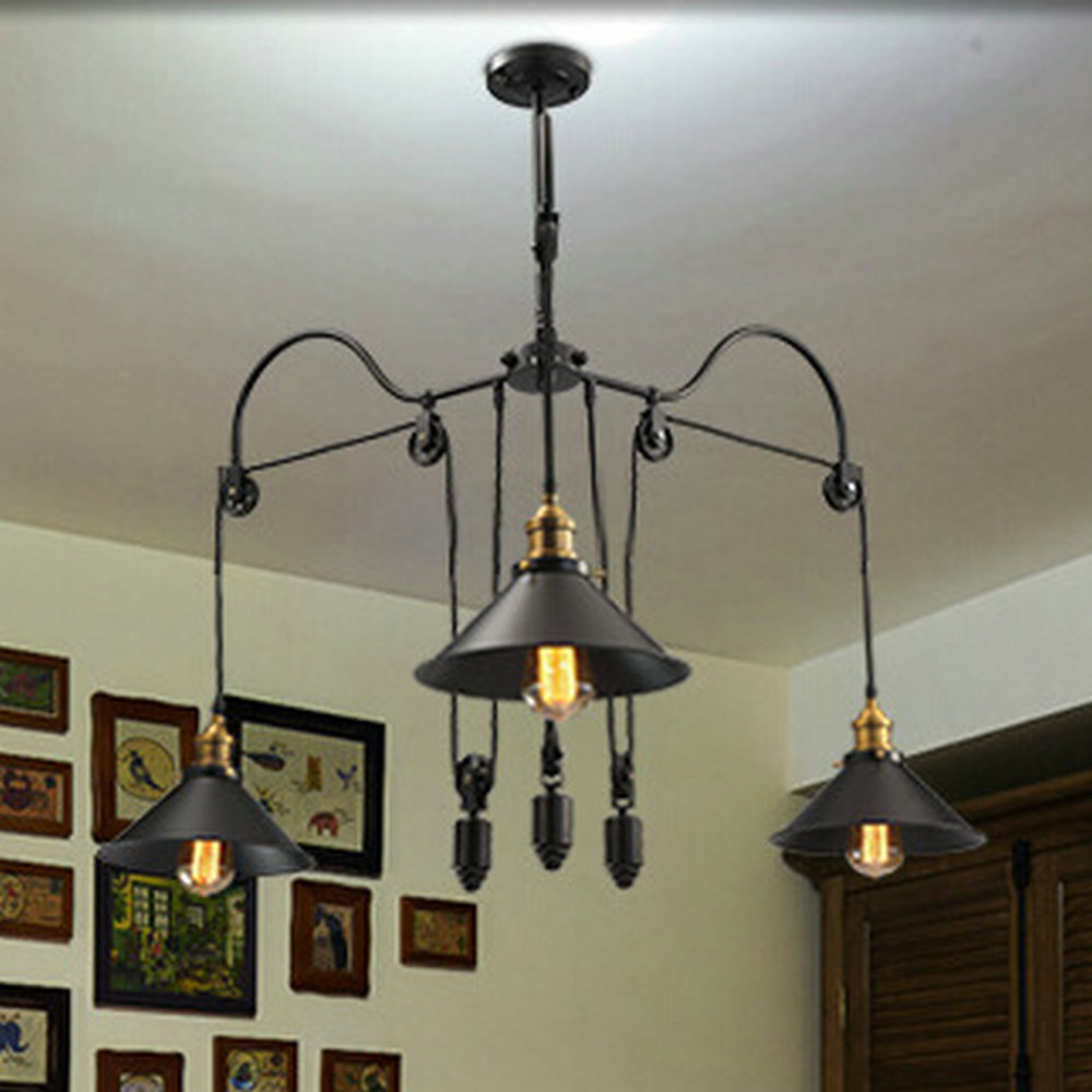 loft style vintage industrial lighting pulley pendant lights 3 lamps island foyer pendants dinning pendants study cheap island lighting