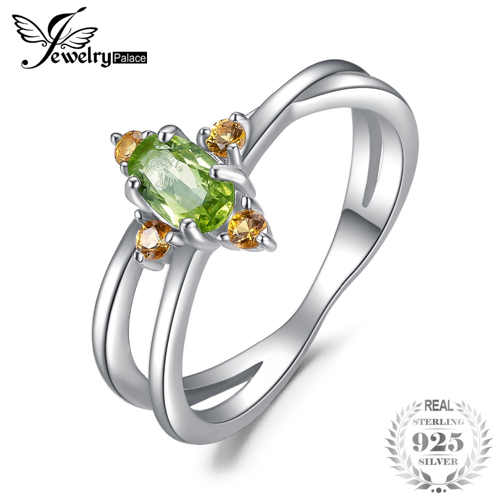 0.5ct Natural Peridot Created Orange Sapphire Split Shank Rings For Women Charms 925 Sterling Silver Wedding Gifts