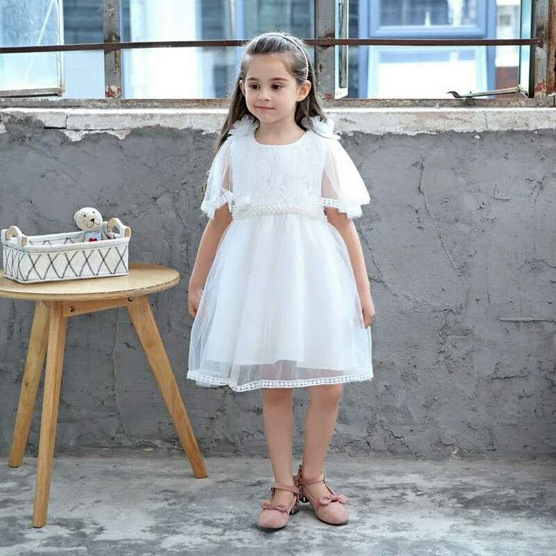 Wedding Summer Beading Girl Dress White Pink Girls Teenage Princess Shawl Voile Shoulder Flower Pearl Party Children Dresses