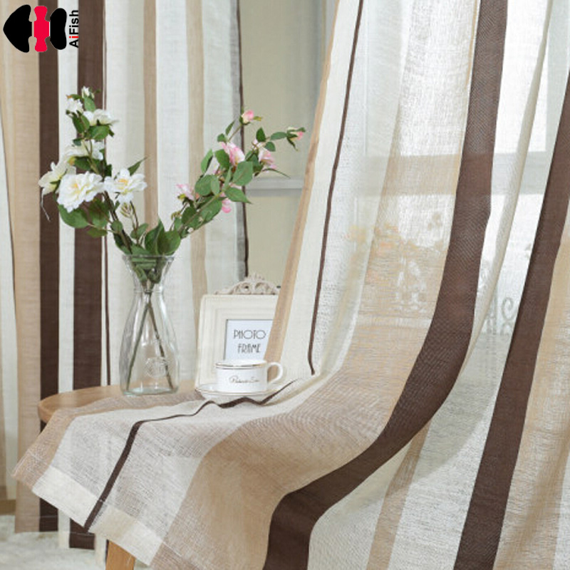 New Stylish Coffee Striped Pattern White flax Yarn Comfortable Curtains Customize for Living Room Bedroom Kitchen WP222 #20 pocket