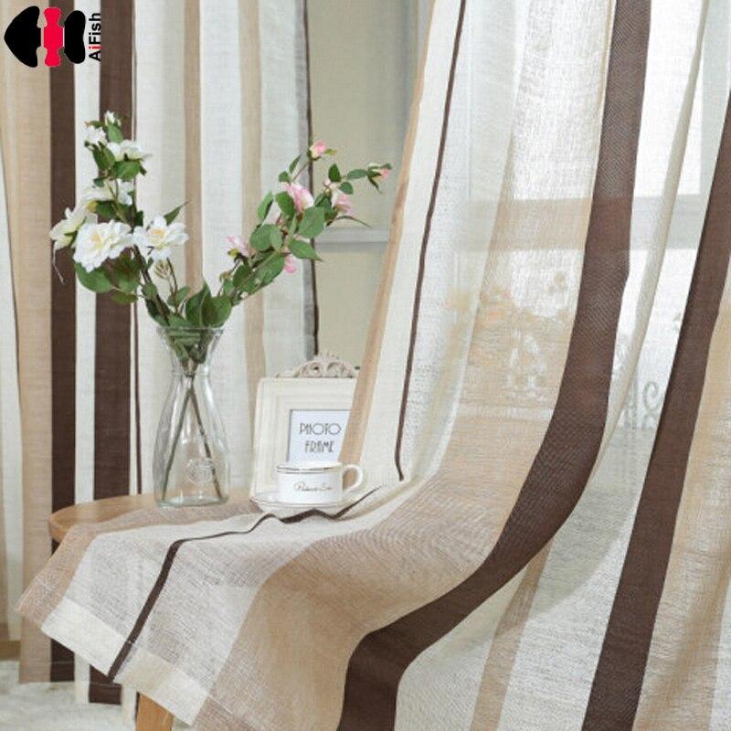 Café Rayé Motif fringe rideau Fil rideaux lin brun rideau tissu chambre Cuisine rayé rideaux WP222B
