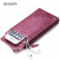 Fashion Women Soft Split Leather Zipper Wallet Brand Long Female Purse With Phone Pocket And Strap