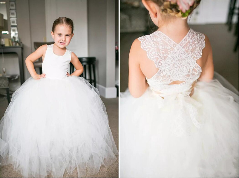 2017 White Tulle Ball Gowns Little Flower Girl Dresses Lace Back Ankle Length First Communion Gown Kids Party Dress white ivory sleeveless open back lace knee length flower girl dress with sequin bow puffy ball gown tulle first communion gow