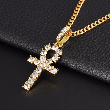Hip Hop Stainless Steel Cross Pendant Necklace Shellhard Gold Silver Color Crystal Long Chain