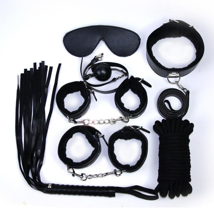 Buy Leather 7 bondagekit set handcuffs whip rope mask mouth gag Bdsm fetishbondage sex sexy lingerie products couples erotic toy