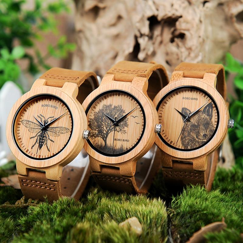 BOBO BIRD LP20 Men Wrist Watch Fashion Bamboo Quartz Watch Montre Homme Skeleton Dragonfly Animals Watch Men