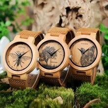 Bobo Vogel LP20 Mannen Polshorloge Mode Bamboe Quartz Horloge Montre Homme Skeleton Dragonfly Dieren Horloge Mannen