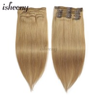 Isheeny Remy Clip in Human Hair Extensions Dark Blonde Color 27# Thick Double Weft Brazilian Hair Clip ins Full Head Set