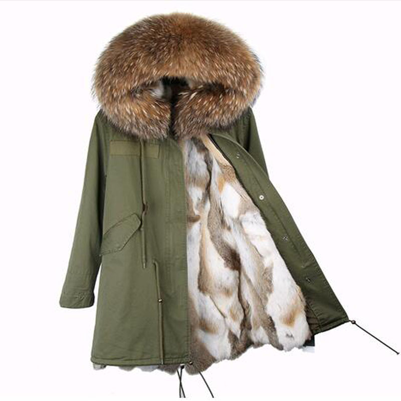 2017 new long winter jacket coat women parka real Raccoon Fur Collar hooded natural rabbit fur coat Thick Warm Fur liner parkas 2017 winter new clothes to overcome the coat of women in the long reed rabbit hair fur fur coat fox raccoon fur collar