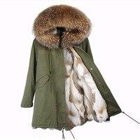 2018 новая зимняя куртка, пальто Женская парка реального енота меховой воротник с капюшоном натуральный мех кролика пальто Толстые Обувь на т