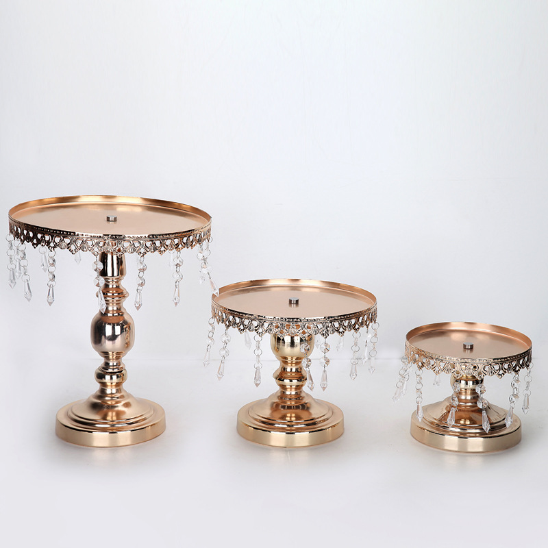 2pcs Gold Wedding Crystal Pendant Cake Stand Cupcake Dispaly Plate Metal  Dinnerware Bakeware Candy Tray Wedding Party Decoration In Stands From Home  ...