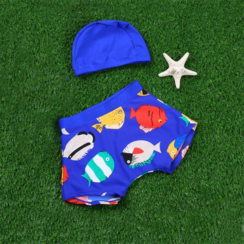 Baby Summer Swimwear Kids Cartoon Fish Swimsuit Summer Boys clothing Swimming Trunks Hat Baby Boy Bathing Clothes