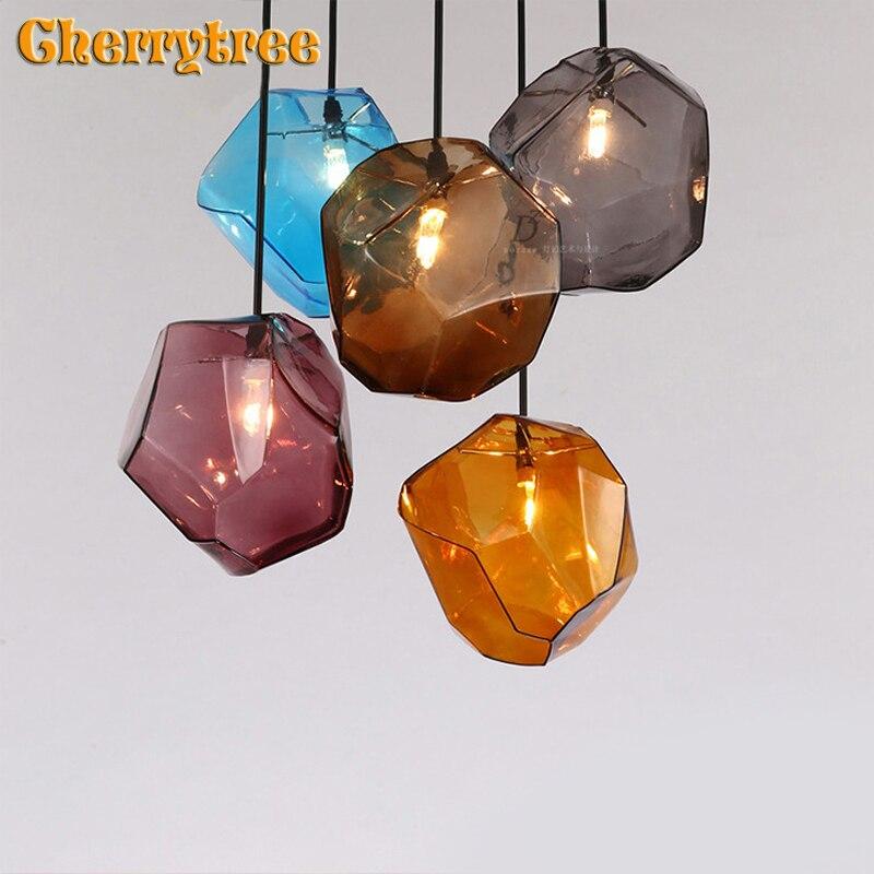 Suspension moderne en verre lampe pendante loft design nordique corde suspendue café salle à manger lumières salon luminaire