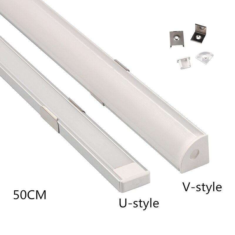 1Set U/V Style Shaped 50cm LED Bar Lights Aluminum Channel Holder Milky Cover End Up For LED Strip Light Accessories