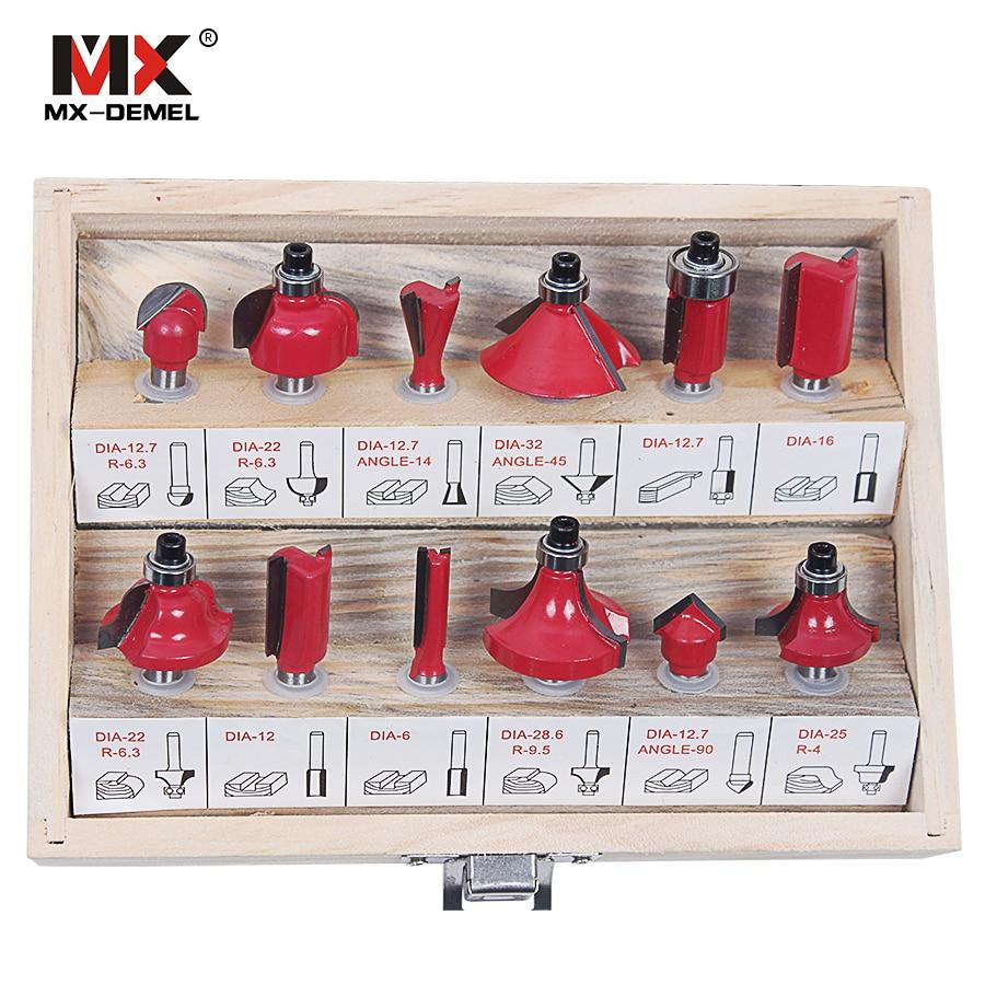 MX-DEMEL 12Pcs Fresa 8mm Set di punte per router Fresa per legno - Punta da trapano - Fotografia 2