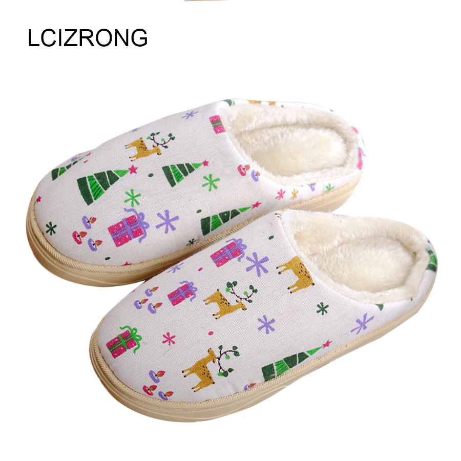 LCIZRONG Winter Women Thick Plush Animal Graffiti Slippers Home Large Size Warm Slipper Woman Indoor Shoes House Lovers Slippers wholesale lovely rabbit lovers winter slippers animal pattern home household indoor slippers men women shoes slipper size 36 43