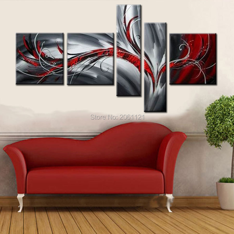 5 panel wall art 100% Hand Painted Modern abstract red AND black GRAY oil paintings on canvas for living room home decor5 panel wall art 100% Hand Painted Modern abstract red AND black GRAY oil paintings on canvas for living room home decor