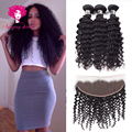 Brazilian Virgin Hair With Lace Frontal Closure,Brazilian Deep Wave Unice Hair with Frontal 3 Bundle Deals,Stema Hair Company