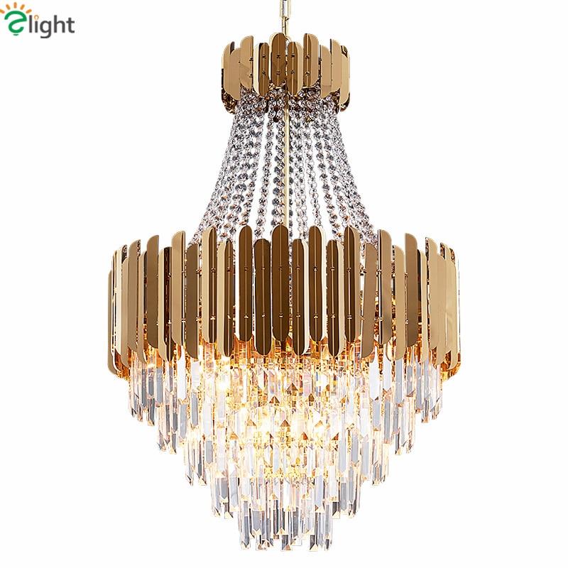 Post современный роскошный блеск титан золото светодио дный сталь led открытый подвесные светильники Luminaria K9 кристалл светодио дный подвесной ...