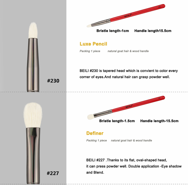 BEILI 1 pc rojo profesional de maquillaje de ojos cepillo de sombra de ojos de cabra Natural cepillo de sombra de ojos