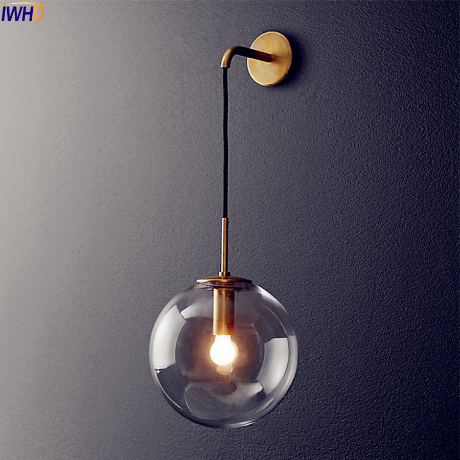 IWHD Nordic LED Wall Lamp Glass Lampshade Modern Fixtures Home Lighting Wall Lights Living Room Bedside Sconce Mirror Light bedside wooden wall lamp wood glass aisle wall lights lighting for living room modern wall sconce lights aplique de la pared