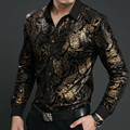 New Spring Mens velvet Shirts Men Baroque Brand Luxury Heren Kleding Chemise Homme Leopard Print Marque Abbigliamento Uomo Size