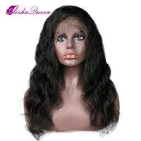 Бразильский объемная волна 130% полный шнурок человеческих волос парики бесклеевого парики Волосы remy с Bang предварительно сорвал можете сдел