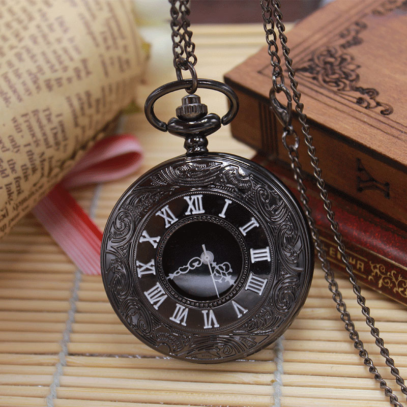 Retro Black  Dial Rome Number Pocket Watches With Necklace Chain Cool Gift For Women Men Father's Day Children  Relogio De Bolso old antique bronze doctor who theme quartz pendant pocket watch with chain necklace free shipping