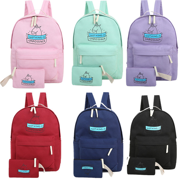 2pcs/set Women Canvas Backpack Fashion Cute Travel Bags Cartoon Unicorn Printing Bags Laptop School Backpack For Teenage Girls new card captor sakura printing backpack kawaii women shoulder bags sakura laptop backpack canvas school bags for teenage girls