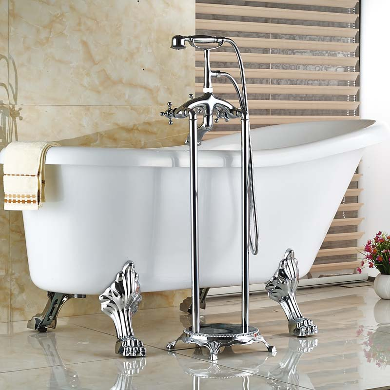 Brand New Chrome Floor Mount Clawfoot Bath Tub Filler Faucet Free