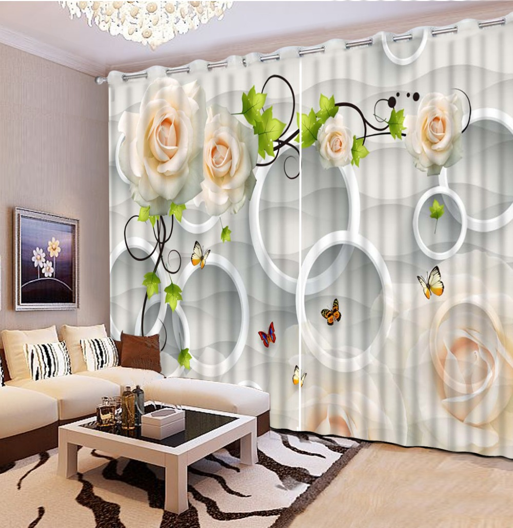 3d curtains decorative window curtains bamboo white louts flower ...