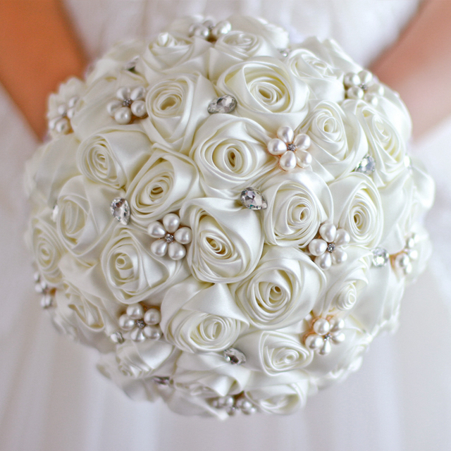 Free shipping Ivory Rose flower bridal brooch bouquet Wedding Bride ...