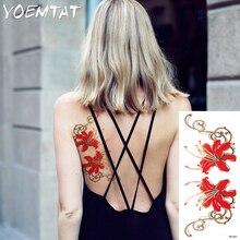flash henna tattoo fake temporary tattoos stickers sexy red rose flowers tattoo arm shoulder tattoo waterproof women on body