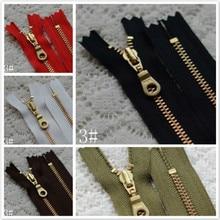 10 Pcs lot YKK Metal Zipper Fastener for Pocket Leather Bag Gold Copper  Close End 584c7724c