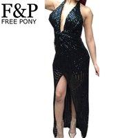 Summer Dress 2015 New Fashion Women Insert Sequins Dress Black Hollowed Out Front High Deep Plunge