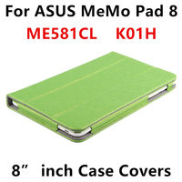 Case For ASUS MeMo Pad 8 ME581C Protective Smart cover Leather Tablet For asus MeMoPad8 ME581CL K01H 8 inch PU Protector Sleeve